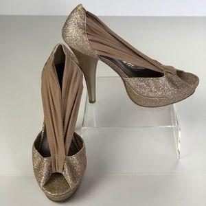 Madden Girl Gold Glitter Ouvre Open Toe Heels